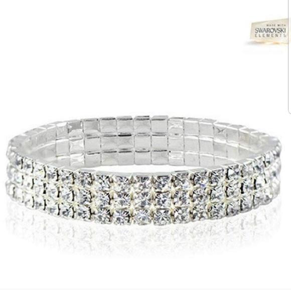 Swarovski Crystal Triple Row Stretch Bracelet